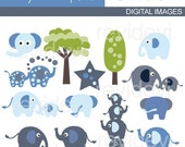 Blue Elephant clipart sale - Baby elephant clip art, digital images illustration, commercial use, instant download