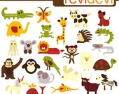 Buy 5 get 5 free.. Clip art Retro ABC Animals 07244 - Digital Images - Commercial use clipart