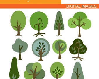 Tree clipart / Strong Trees Clip art - Commercial use digital clipart - graphic images