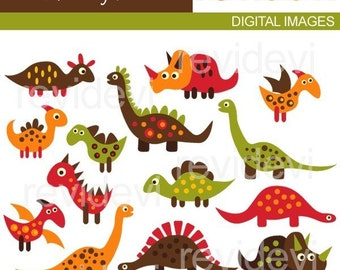 Dinosaur clip art - Retro Big Dinos - Digital clipart embellishment - Commercial use for printed invites and stationery, paper goods