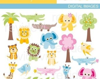 Jungle animals clip art - Sweet Baby Safari - Digital Images - Commercial Use Clipart
