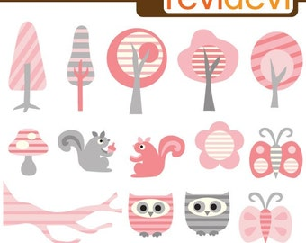 Treess, squirrel, owls, buterflies clipart - Pink Stripe Forest Cliparts - instant download, digital images