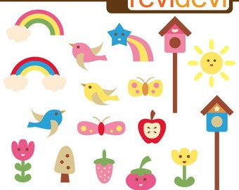 Spring clipart Happy Day - Digital Images -  flying birds, rainbow, flowers, butterfly, bird house digital clipart