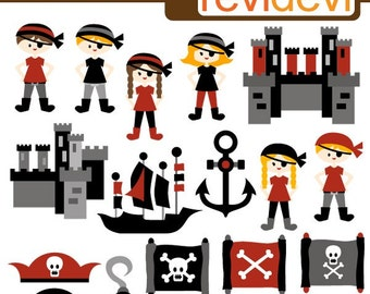 Pirate clipart - ship, map, anchor, boys, girls - Pirate Power - digital images, commercial use, instant download