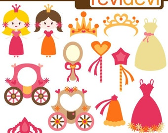 Cute princess clipart - pink orange - pumpkin carriage, dress, tiara, magic wand clipart - commercial use