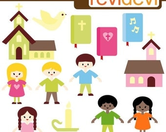 Sunday School Kids - Cute clipart - Digital graphic images