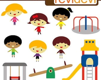 Playground clipart commercial use / Kids playing clip art / slide, swing, kindergarten outdoor activities clipart download
