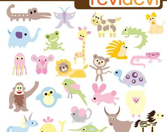 ABC alphabet animals in pastel colors - cute clipart - animals clipart - instant download