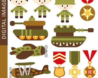 Army clipart, military, tank clipart, medals, emblem, vintage planes, boys clip art, commercial use digital images, instant download