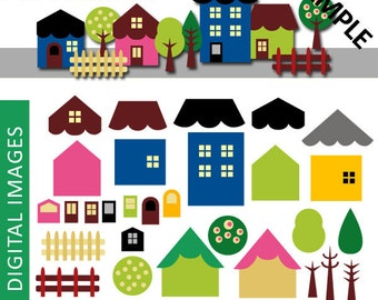 DIY Build Your Hometown clip art - House clipart - Digital Images - Clip art for commercial use