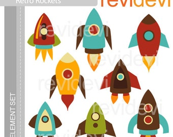 Rockets digital cliparts - Simply Retro Rockets - digital images, instant download