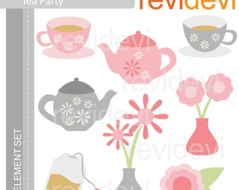 Tea party clipart in pink and gray. E055