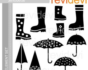Spring clipart monogram - Boots and umbrellas silhouette clipart digital download