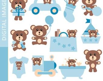 Clipart Baby Boy Teddy Bear 07356.. Commercial use clip art