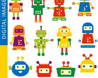 Robots clipart / colorful robot clip art commercial use digital images / robot illustration, instant download