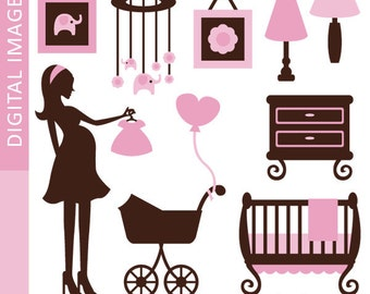 Chic Mom and Pink Nursery Clipart 07364