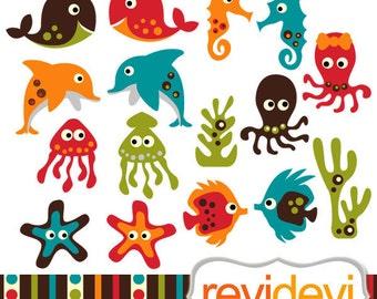 Sea animals cliparts - Retro Sea Animals - Commercial use digital graphic clipart