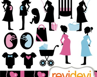 Mom To Be and Sonogram.. Silhouette pregnant woman digital clipart.. Commercial use, instant download