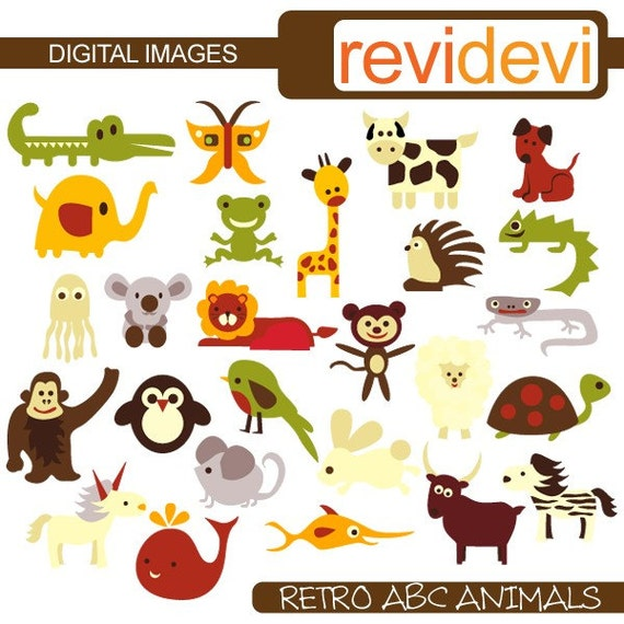 Retro ABC Animals 07244 - Digital Images - Commercial use clipart
