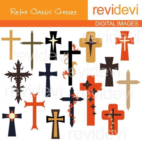 Crosses clip art - CHristian cross clipart - Retro Classic Crosses Clipart, instant download - commercial use digital images