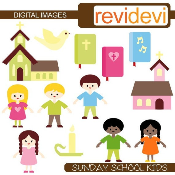 Sunday School Kids 07280 - Cute clipart - Digital graphic images