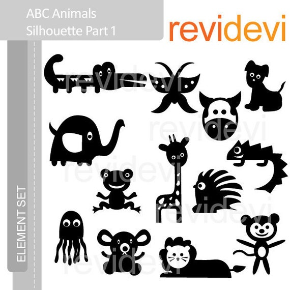 E048 ABC Animals Silhouette Part 1 - Element Set - Cute digital clip art graphics for Commercial Use