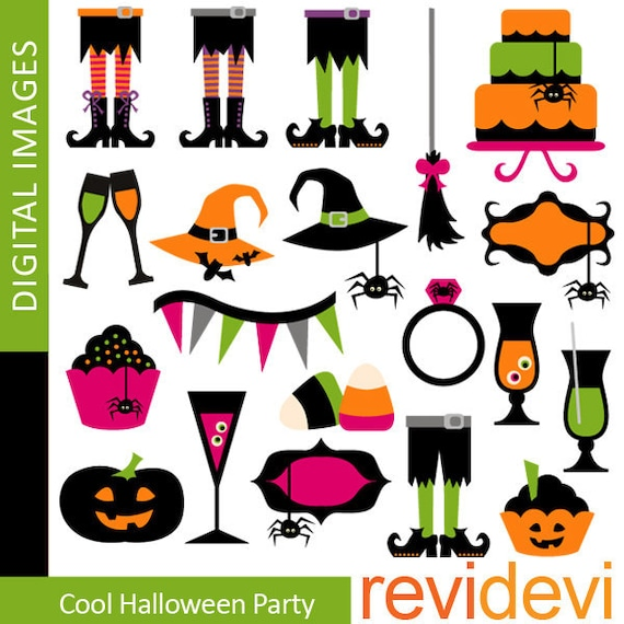 Halloween clip art - Clipart Cool Halloween Party.. Commercial use.. Instant download