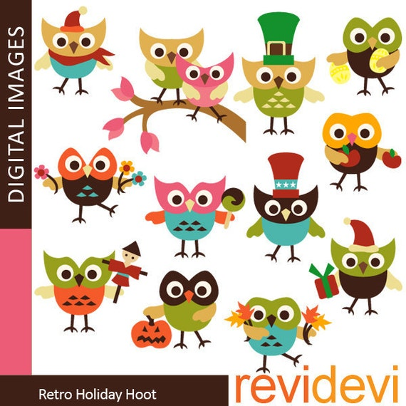 30 OFF SALE Retro Holiday Hoot 07349.. Instant by revidevi ...