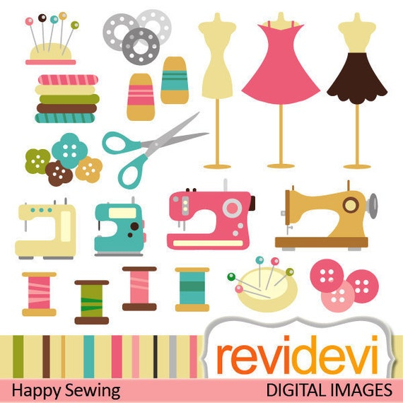 Sewing clip art - Digital clipart.. Happy Sewing.. Commercial use - sewing machine, mannequin, thread, buttons digital images