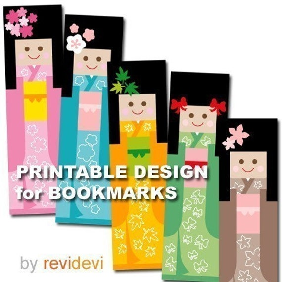 PRINTABLE DESIGN sheet BOOKMARK DOLL cute figure JAPANESE