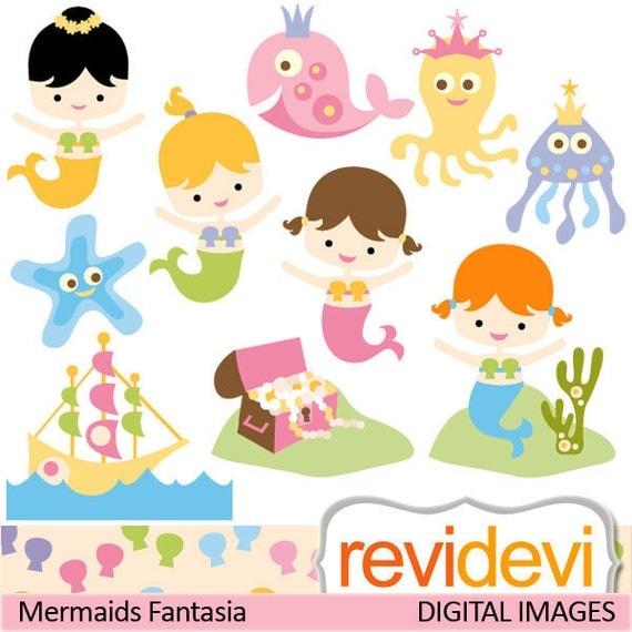 Cute mermaid clipart / digital images / Clipart Mermaids Fantasia 07394