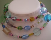 Skye Necklace--Mixed Glass Long Necklace