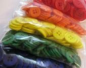 Rainbow assortment of plastic buttons