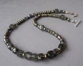 Tourmalinated Quartz and Pyrite Necklace