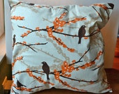 SALE Aviary Throw Pillow, Removable Cover