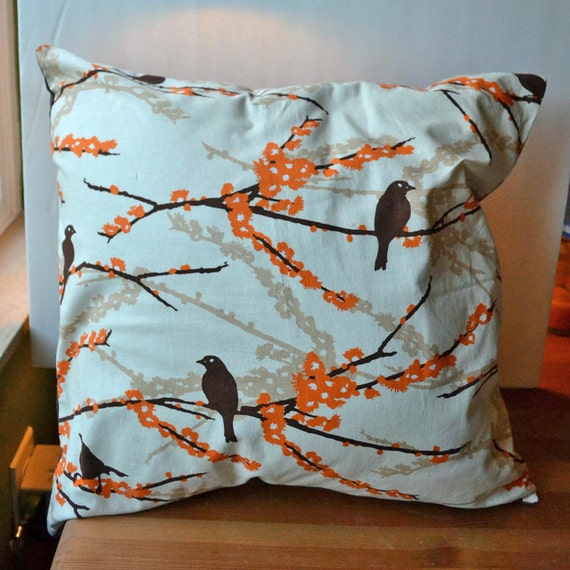 SALE Aviary Throw Pillow Removable Cover by SeeMommySew on Etsy