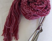 SALE - RASPBERRY SWIRL handknitted pure wool and cotton scarf with tassles 63 inch X 5.5 inch