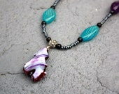 Purple, Turqouise, and Black Necklace featuring Agate, Blown Glass, Amethyst and Czech Glass