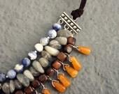 TREASURY ITEM - Sodalite, Labradorite, Wood, Orange Jade and Brown Suede Necklace, Southwestern Style Fringe Bib Necklace