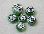 Vintage Glass Beads GREEN Venetian MILLEFIORI EYES 7.5-9mm Pkg6 eye3