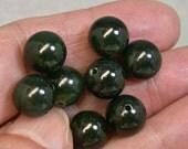 VINTAGE NEPHRITE JADE Beads Dark Spinach Green 10mm pkg8 rb133