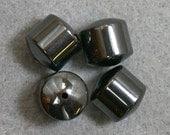 VINTAGE Stone Beads HEMATITE BARRELS 12mm pkg4 cb350