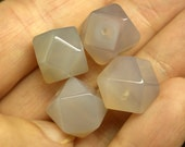 Vintage Gray Chalcedony cubo-octahedron FOCAL STONE 12mm pkg 4 cb224