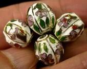 Vintage Cloisonne Beads Barrel shape faceted white purple green 12x13mm pkg4 clo77