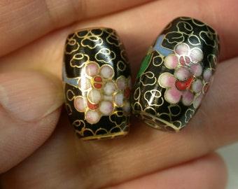 Vintage 1970s Chinese Black Cloisonne Pink Flowers Beads barrels 20mm pkg 2  CL048