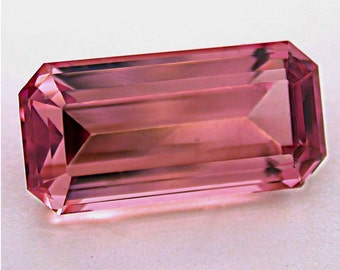 Vintage PINK TOURMALINE Faceted Gemstone Emerald Cut 6.98 cts fg42
