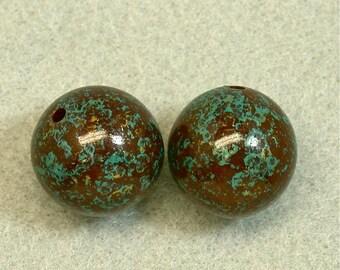 Vintage JAPANESE SPLATTER Beads Brown Blue 20mm pkg2 res404