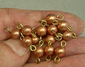 Vintage Metal Beads Japanese Copper Connectors 6mm pkg12 m69