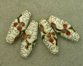 VINTAGE CLOISONNE BEADS White Red Flowers oval Chinese 20mm pkg4 clo101
