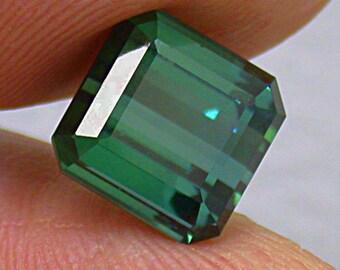 TOURMALINE GEMSTONE BLUE green vintage emerald cut 6.37cts fg122